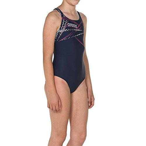arena Mädchen Sport Badeanzug Glimmer (Schnelltrocknend, UV-Schutz UPF 50+, Chlor- /Salzwasserbeständig), Navy-Aphrodite (709), 128