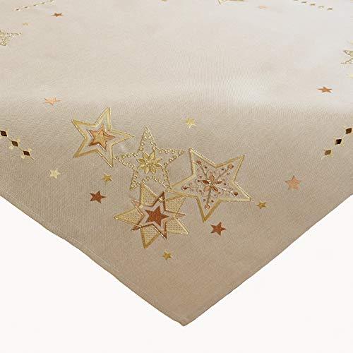 Raebel OHG Stickerei Sterne Schneesterne Mitteldecke Weihnachten Deko Weihnachtstischdecke (beige-Gold, 85 x 85 cm)