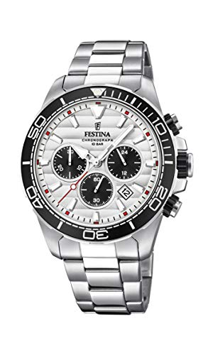 Festina Herren Chronograph Quarz Uhr mit Edelstahl Armband F20361/1