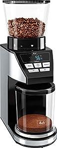 Melitta Calibra 1027-01, molinillo de cafe en grano electrico, muelas cónicas, 39 grados de molienda, báscula digital, pantalla LCD, 160W, 160 W, 0.38 kg, negro/Acero inoxidable