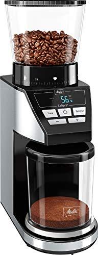 Melitta 1027-01 SST BK elektrische Kaffeemühle Calibra mit Kegelmahlwerk und LCD-Display, sowie integrierter Waage, 39 Mahlgradeinstellungen, Fassungsvermögen: 375 g, 160, schwarz/edelstahl