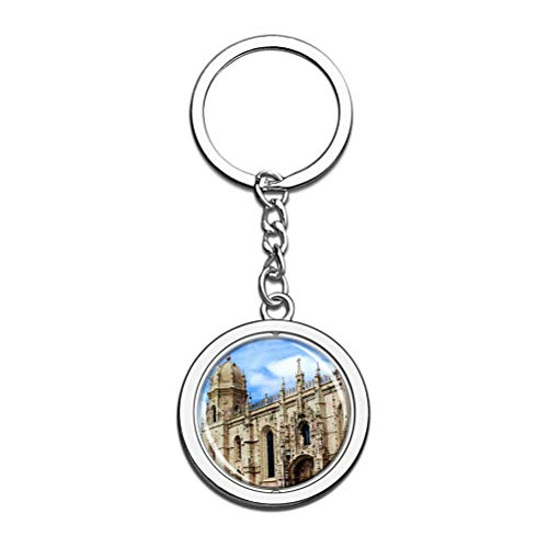 Llavero de Portugal Monasterio de los Jerónimos Lisboa, recuerdo de cristal, cadena de metal de acero inoxidable, regalo de viaje de ciudad