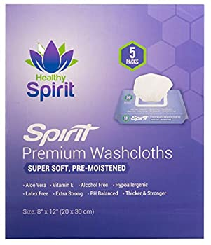 Healthy Spirit Disposable Washcloths 250 Count - Adult Wipes Extra Large Adult Wipes for Incontinence & Cleansing 8 x12  250 Count White