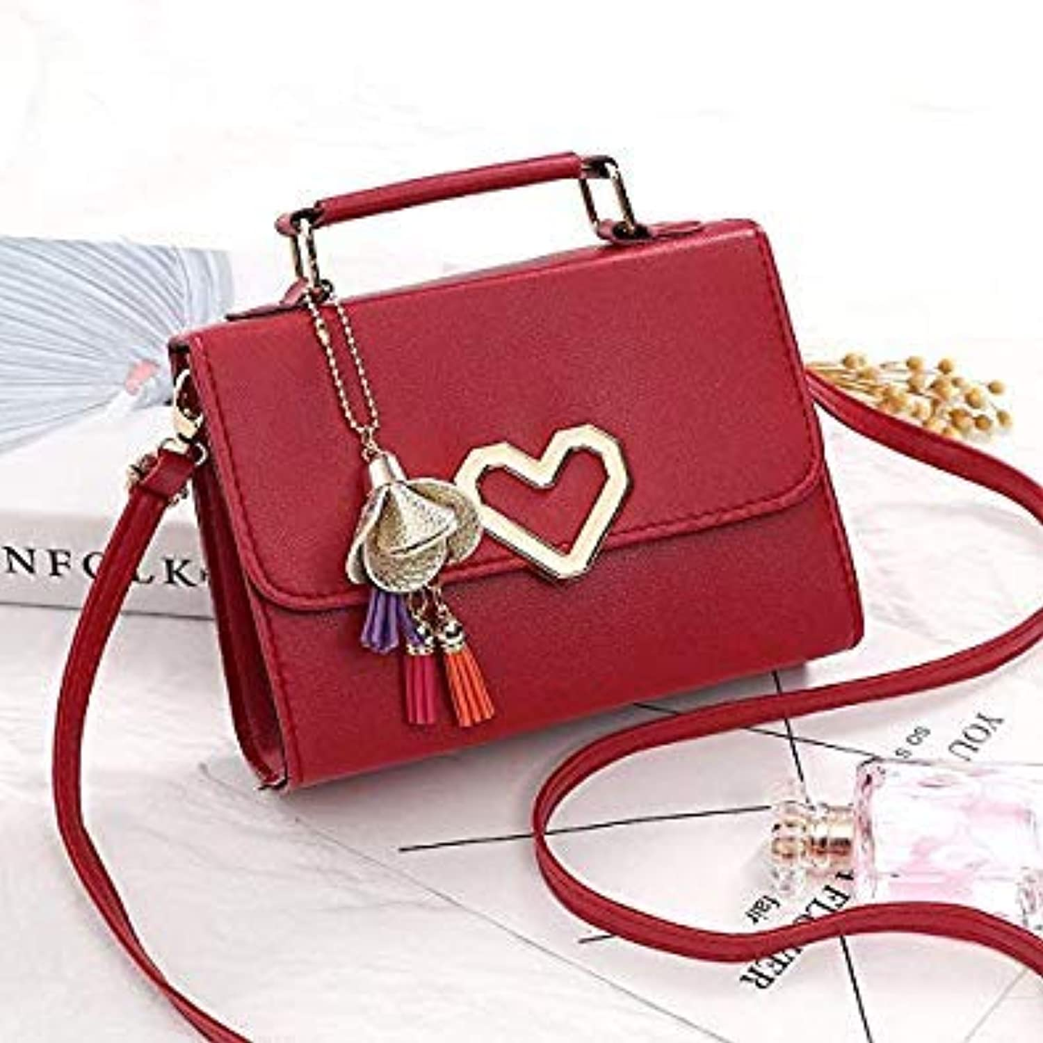Bloomerang Women Handbags Bags Famous Brands PU Leather Flap Tassel Fashion Solid Party Messenger Crossbody Bag for Women color Red