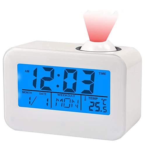 SYOSY Projektionswecker digitaler Wecker mit Snooze-Funktion Innentemperatur Projektionshelligkeit, Schlafzimmer, Büro