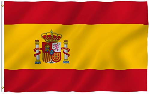 Anley Fly Breeze 3x5 Foot Spain Flag - Vivid Color and Fade Proof - Canvas Header and Double Stitched - Spainish National Flags Polyester with Brass Grommets 3 X 5 Ft