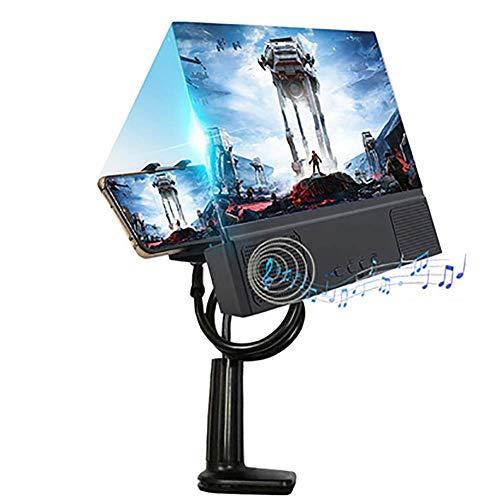 KSTORE Pantalla Anti-Azul Claro 3D Altavoz Bluetooth Lupa HD Protable Películas Amplificadores con Soporte Soporte Plegable,Negro