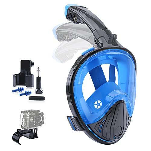 Kuyang Schnorchelmaske Vollmaske Tauchmaske Vollgesichtsmaske Tauchermaske mit 180° Sichtfeld und Kamerahaltung Anti-Fog und Anti-Leck Tauchmasken Schwimmmaske für Erwachsene L/XL