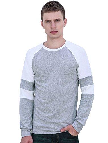 Sourcingmap Homme Encolure Torsadée Couleur Contrastée Raglan Manches T-Shirt Gris Clair 42