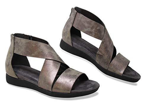 Pierre Dumas Shoes Women?s Stylish Flat Gripped Open Toe Comfortable Self-Adjustable Straps, Pewter4k, 8
