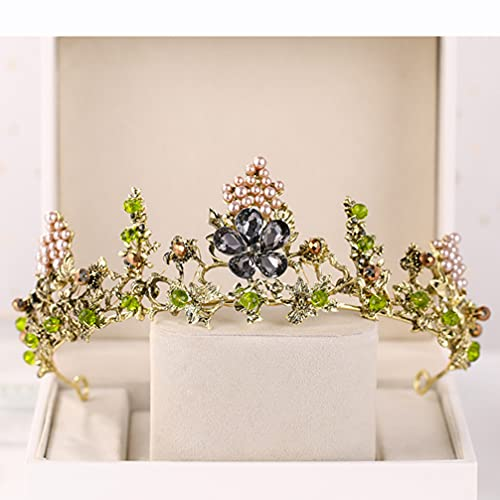 Uonlytech Coroa de Cristal De Noiva Festa de Casamento Tiara Headband Do Cabelo Ornamento Acessórios De Fadas Da Floresta para O Casamento 1Pc