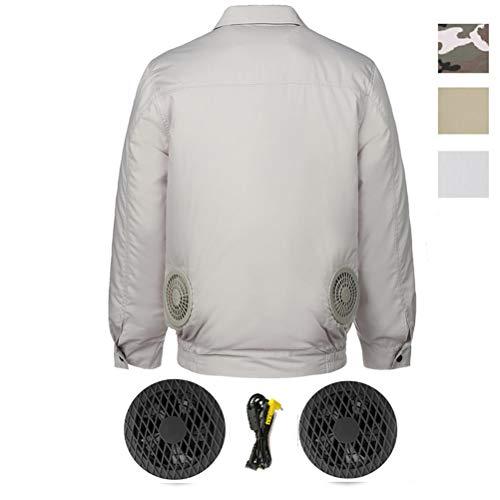 Jxfrice Abrigo de ventilador de verano, carga inteligente USB aire acondicionado ropa portátil para motocicleta, actividades al aire libre, caza, camping, senderismo, esquí