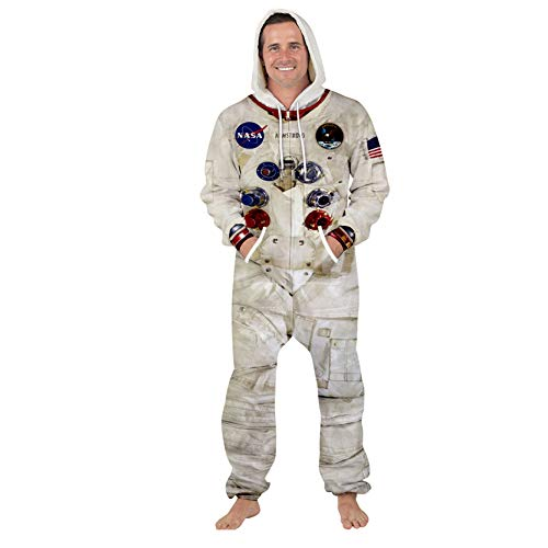 XiaoHeJD Overall NASA Astronaut Space Suit Party Lässig Big Pocket Home Pyjamas Kordelzug Hooded Jumpsuit, L.