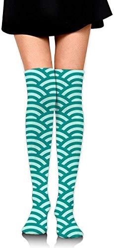 Blaugrün und hell Aqua Jakobsmuschel lustige verrückte Socken für Frauen Kniestrümpfe lange athletische Sport Tube lässige Stiefel Strümpfe Beinlinge