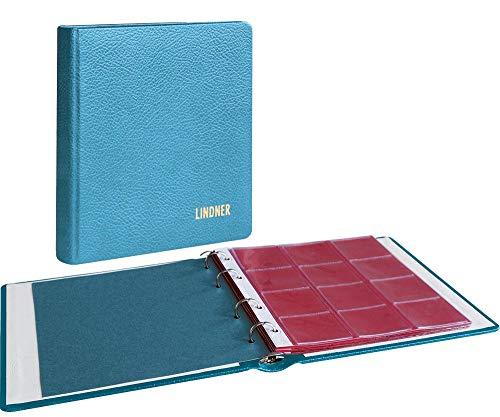 LINDNER Album numismatique Karat Cuir, avec 10 Feuilles numismatiques - Bleu