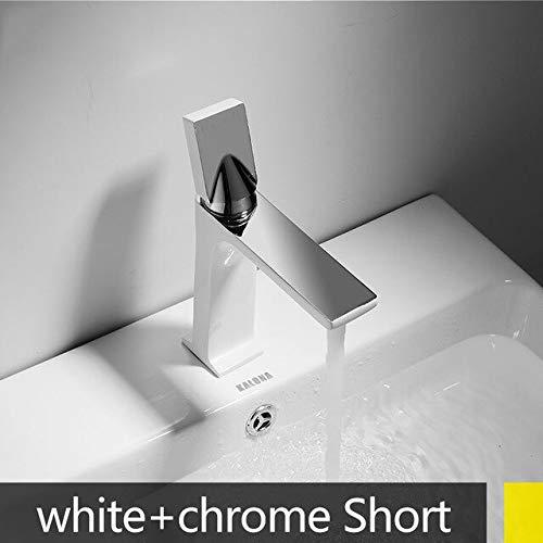 RSZHHL waterkraan meerdere hoogte/korte wastafel kraan koninklijke stijl elegante eenhand badkraan koud warm mengkraan messing kraan deck gemonteerd Wit Chrome Short
