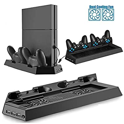 YYKJ PS4 Console Vertical Bracket with 2 Cooling Fan Controller Charging Docking Stations and 3 Additional hub Ports, Suitable for PS4 Accessory Cooling Fans