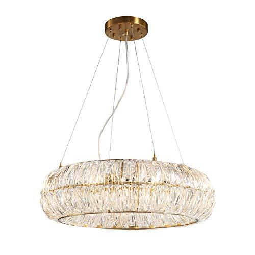 "SILJOY Luxury Post-Modern Crystal Chandelier Circular Ring Pendant Ceiling Light Fixture for Dining Room Living Room Bedroom D24"" x H6"""