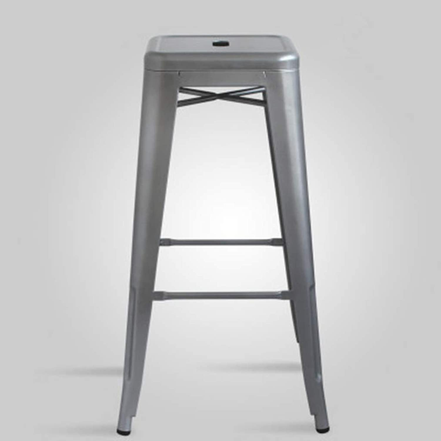 XINGPING Industrial Wind Retro Metal Stool Bar Chair Bar Stool Bar Stool Bar Stool High Stool Front Desk Chair High Chair (color   No backrest, Size   76cm)