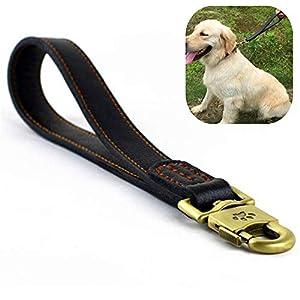 Jyhy Courte laisse pour chien en cuir véritable–Laisse en cuir tressé pour promenade et dressage de chiens de grande taille