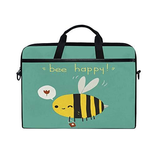 HAIIO Laptop Bag Case Cute Animal Bee Emoticon Quote Computer Protector Bag 14-14.5 inch Travel Briefcase with Shoulder Strap for Women Men Girl Boys