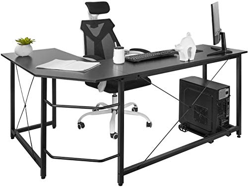 DAWOO L-Shaped Desk-Wood Computer Corner Desk,Home Gaming Desk, Writing Studying PC Laptop Workstation Table for Home Office Bedroom,Easy to Assemble,140X50X75cm(Black)
