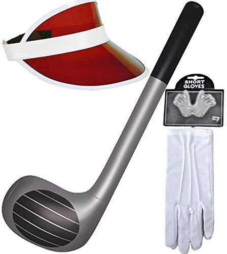 MA ONLINE Aufblasbarer Golfschläger mit Visier, Mütze, Handschuhe, Requisiten, Themenparty, schickes Zubehör (roter Hut H09963, weißer Handschuh WD2167WH, aufblasbarer Stick X99049)