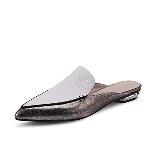 Low Heel Slippers Woman Pointed Toe Footwear Slides Flat Shoes Female Genuine Leather Mules White