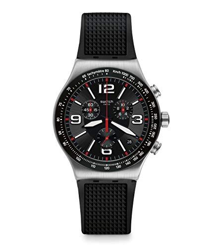 Swatch Herren Analog Quarz Uhr mit Gummi Armband YVS461