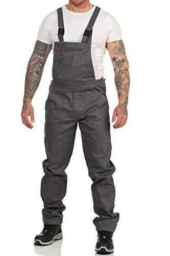 Mivaro Herren Latzhose für die Arbeit, mit vielen Taschen, elastische Träger und Bund, Größe:L, Farbe:Anthrazit