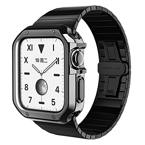 JJBFAC Correa de acero inoxidable+funda para Apple Watch 6, SE, 5, 4, 3, 2, pulsera de 40 mm, 44 mm, 38 mm, 42 mm, banda de metal para parachoques (color de la correa: negro, ancho de la correa: 42 mm