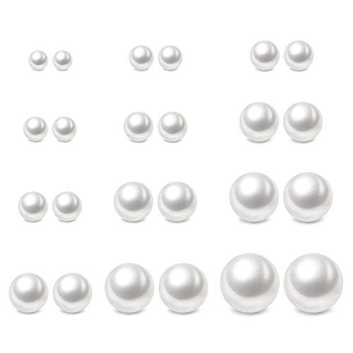 Charisma 4-12mm Composite Pearl Earrings Round Ball Pearls Stud Earrings Hypoallergenic 5 Pairs Mixed Sizes Imitation Pearl Earrings Set for Girls Women