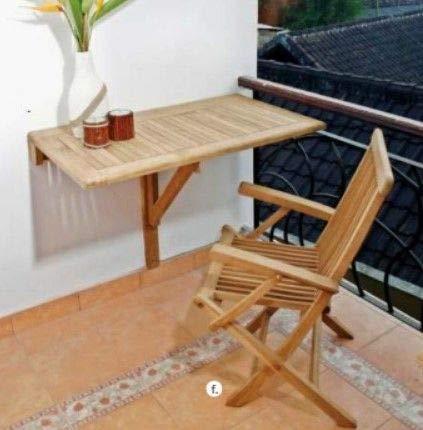 Wandklapptisch Sondrio eckig Teak Massivholz Abmessungen 50 x 50 cm