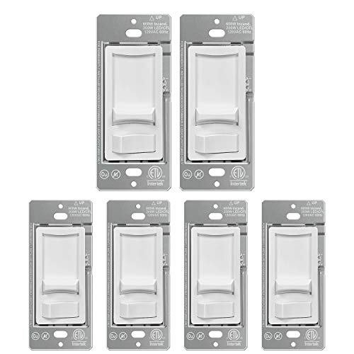 [6 Pack] BESTTEN Ultra Slim Dimmer Switch, Single-Pole or 3-Way, Dimmable Light Switch for LED, CFL, Halogen and Incandescent Bulbs, ETL Listed, White