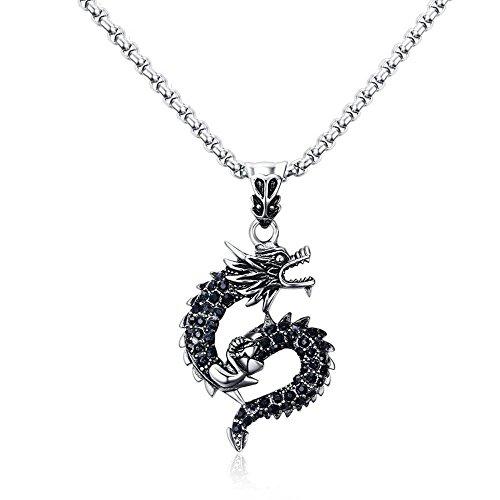HAIHF Halskette, Herren Halskette Mann Anhänger 42,5 MM Edelstahl Schwarzwasser Bohrer Drache-Anhänger Stahl Farbe Dragon Mann Schmuck Geschenk für Familie oder Freunde