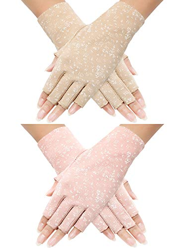 2 Pairs Women Sunblock Fingerless Gloves Non Skid Summer Gloves UV Protection Driving Gloves (Pink, Khaki)