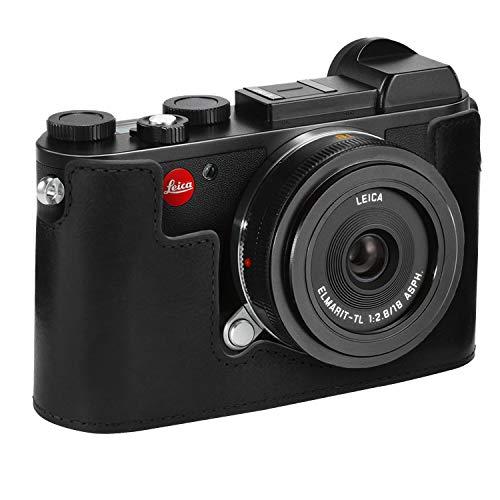 MegaGear Ever Ready - Funda para Leica CL (de Cuero auténtico, con Correa) Color Negro