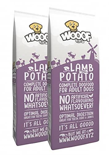 WOOOF Lamm & Kartoffel 28kg kaltgepresstes, getreidefreies Hundefutter, günstiges Premium Trockenfutter ohne Getreide & Weizengluten, hoher Fleischanteil