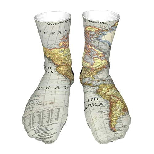 World Map Breathable Ankle Athletic Socks Soft Warm Thick Casual Crew Socks Unisex