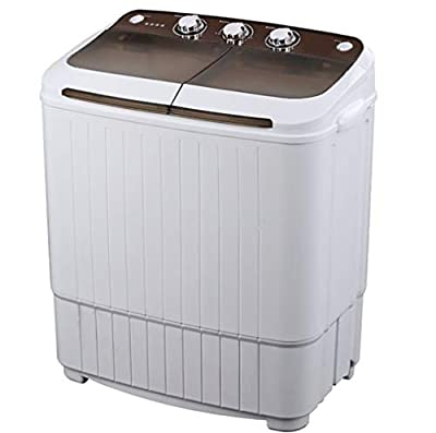 MOUTALE Compact Portable Washing Machine - Twin Tub Washer And Spin Dryer With Wash And Spin Cycle Compartments 5kg Washing Capacity + 3kg Drying Capacity