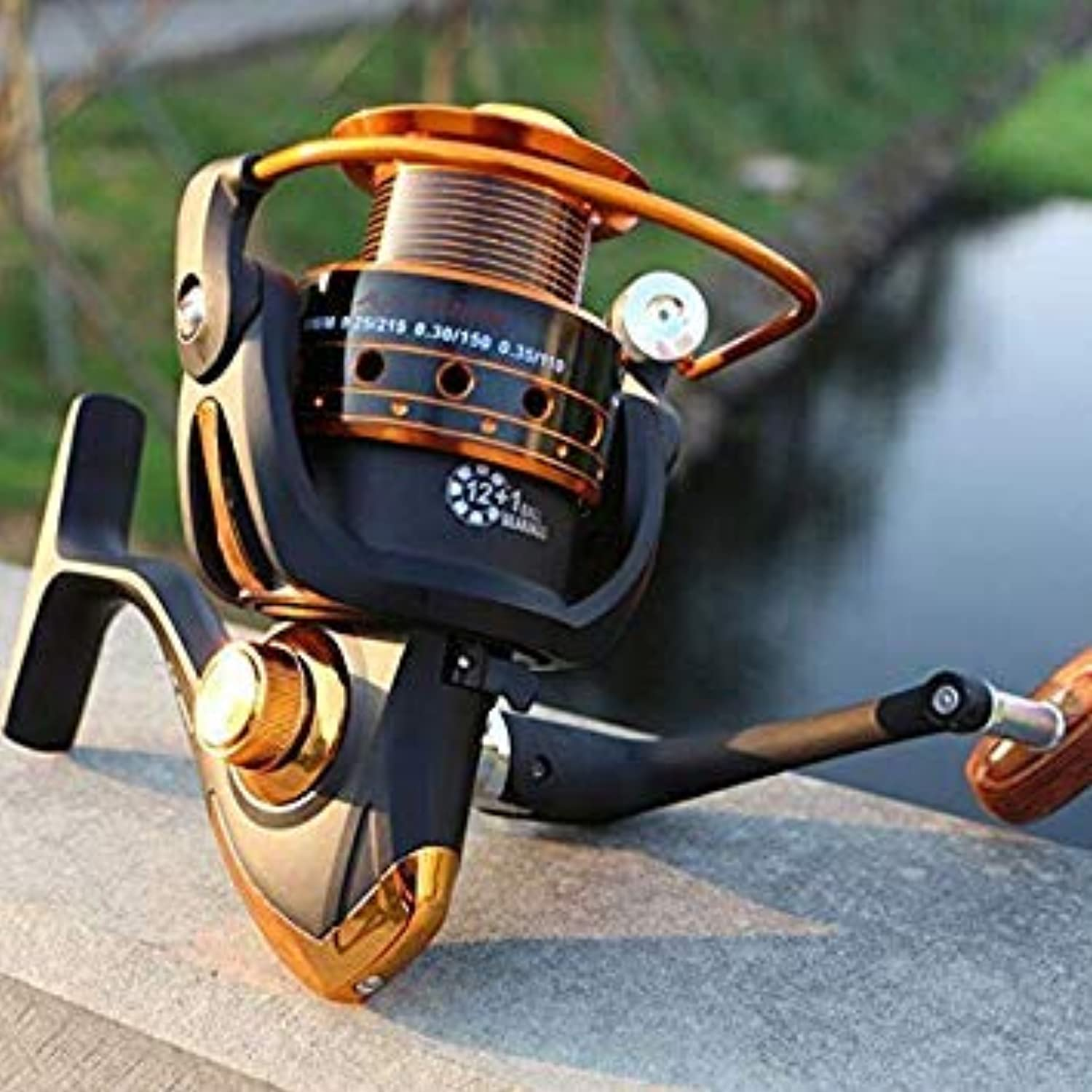 GEOPONICS Spinning Reel 12+1 Ball Bearing 5.5 1 Saltwater Metal Fishing Reel AX30008000 color AX4000