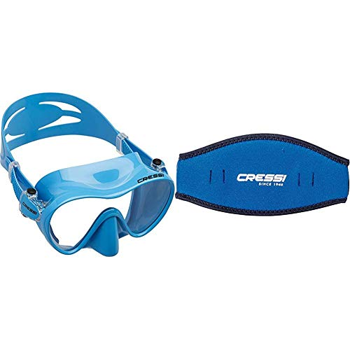 Cressi F1 Mask Máscara Monocristal Tecnología Frameless, Unisex, Azul, L + Mask Strap - Funda de Correa de Surf, tamaño único, Color Azul