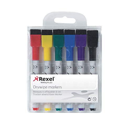 Rexel 1903792 - Mini Rotulador Borrado en Seco (Pack 6) Colores Surtidos 216 x 280  mm