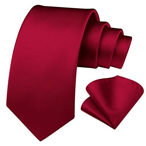 Enlision Conjunto de corbata cuadrada y corbata de bolsillo en color burdeos para hombres