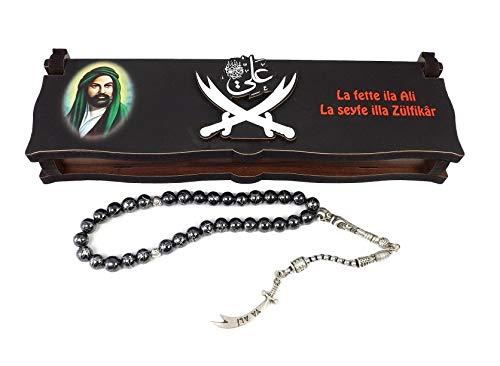 Gök-Türk Box Schatulle 'Hz Ali' Aleviten Zülfikar Schwert aus Holz Handgemacht & Tesbih Gebetskette 33 Perlen, ColorName:ohne Gravur