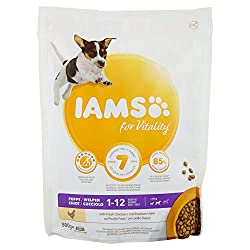 IAMS for Vitality for small and medium sized puppies with fresh chicken Recommended for: small and medium sized puppies up to 12 months All in a tasty recipe with 85% animal protein (total protein content), which your pet can enjoy every day