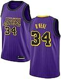 BXWA-Sports Camiseta de Baloncesto Masculino, NBA Lakers # 34 Shaq O'Neal Baloncesto Ropa cómoda/Malla/Enfriar Bordado Baloncesto Retro sin Mangas Jerseys,Púrpura,S
