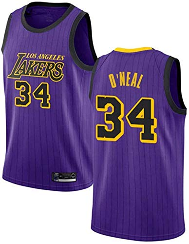BXWA-Sports Camiseta de Baloncesto Masculino, NBA Lakers # 34 Shaq O'Neal Baloncesto Ropa cómoda/Malla/Enfriar Bordado Baloncesto Retro sin Mangas Jerseys,Púrpura,M