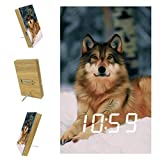 Kids Alarm Clock Animal Wolf Snow Large Digital LED Travel Alarm Clocks with Date Temperature and Voice Control- Unique Cute Print Design - Best Gift for Kids 6.2x3.8x0.9 in
