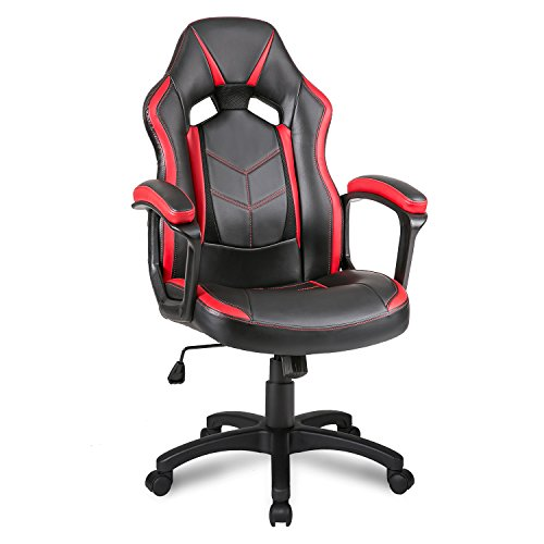 Merax Gaming Stuhl Bürostuhl Chefsessel Racing Stuhl Schreibtischstuhl Drehstuhl Computerstuhl (Rot)
